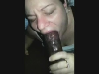 White girl deepthroats a huge black cock with style