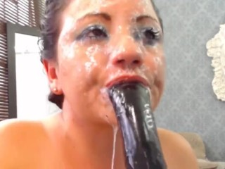 ultra sloppy deepthroat gag spit drool whore wrecks her face