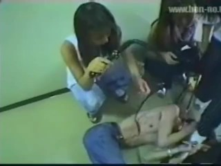 Japanese femdom, group bullying trample humiliation of slave shoes boots