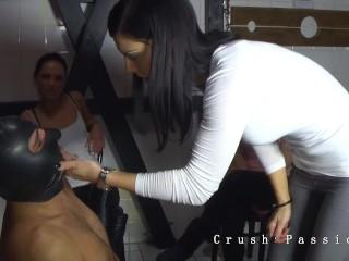 3 Mistresses Humiliating Slave