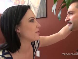 Sadistic mistress shocks slave's balls