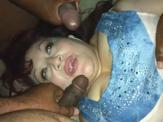 Rae Lynn sucking cum in a gangbang