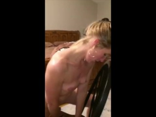 Blonde MILF Hotwife Riding Dildo Good