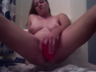 Playing with my giant dildo