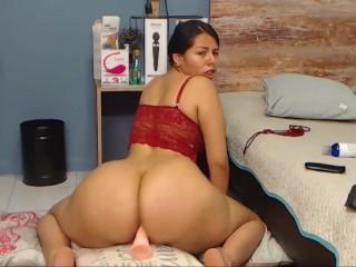 Big ass horny latina rides dildo