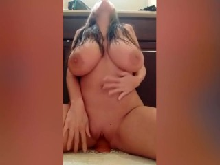 18YR OLD TEEN WITH HUGE NATURAL BOOBS RIDE DILDO