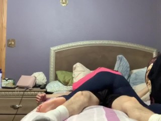 Hot Teen dry humps lucky dude and finishes him off with a handjob