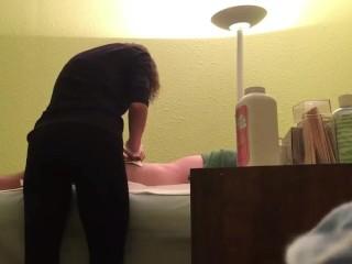 Girl Rubs Customer's Hard Dick At Wax Salon