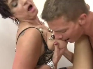 Lucky Young stud fucks 3 old mature ugly granny's