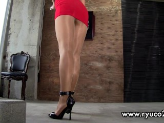 charming chinese cougar is doing sport in too short minidress! enjoy hot upskirt!