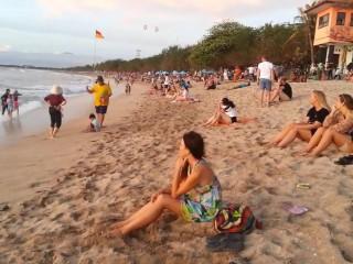 Upskirt NO PANTIES on Crowded PUBLIC Beach