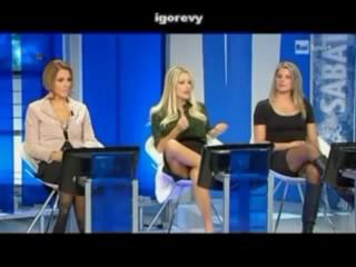PAOLA FERRARI fine HOT MILF cougar TV UPSKIRT OPEN SPREAD LEGS
