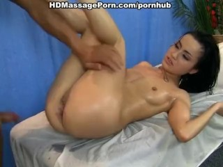 Hot babe shoots in crazy massage porn video