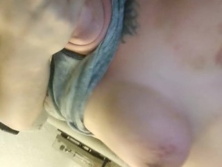 Curvy chick strokes meat while her tits are tortured