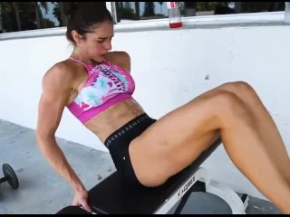 Hot young FBB moans loudly during hard torturing abs exercise loop