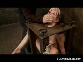 A sub woman bondaged, throatfucked and a clit tortured