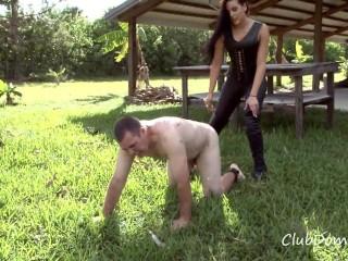Torturing the slave's penis - Ballbusting