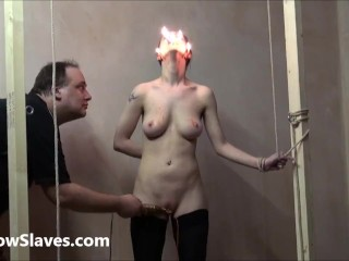 Gruesome facial bdsm of crying Emily Sharpe in bizarre hotwax punishment