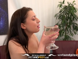 Piss Drinking - Teressa Bizarre tastes her pee and teases her twat