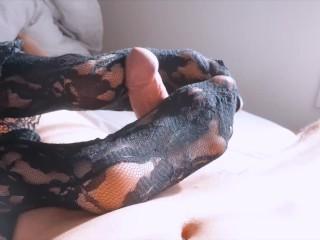 young Nylon Socks Footjob - Watch that Cumshot!