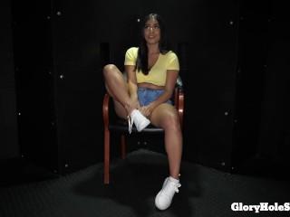 latina deepthroats 10 penises and eats sperm