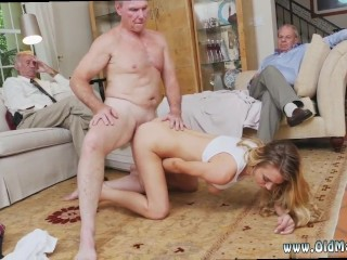 Younger dudes blowing mature mans spunk and older lady in glory hole swallowing