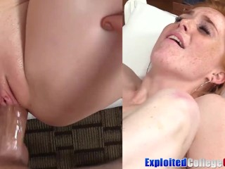 College ginger Jayme plowed and sprayed by massive dong jizz