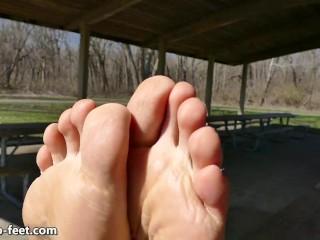 Chicago Feet Goddess Ruby Laying on Bench