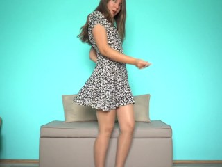 DANCING IN PANTYHOSE SKIN COLOR PANTYHOSE & SUMMERT FLORAL DRESS