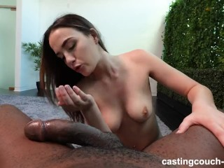 pretty BRUNETTE AUTUMN TAKES black cock ON CASTING COUCH