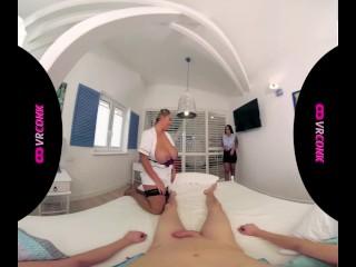VRConk Chubby blonde Maid Invited Her Brunette Friend VR Porn