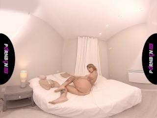 VR A milf with massive boobies masturbating and sleazy talk
