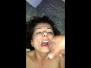 Drunk mom lets son's friends sperm on her after party
