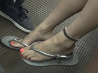 drunk lady have her toes blown on subway