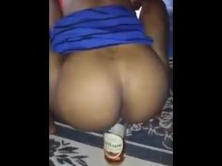 Drunk broad fucks Liquor Bottle In Front Of Family & Friends!