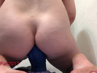 Anal fisting, giant bad dragon insertion, cum orgasm tit bondage