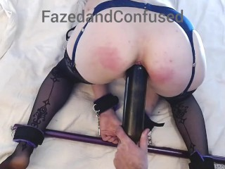 Bondage slave tied up spanked whipped & cunt bottle insertion in stockings