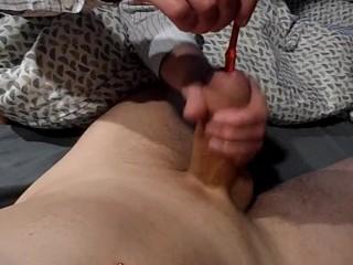 mistress sounding cum insertion toothbrush femdom play
