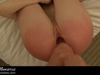 Fair Skin young Redhead Spanking, Anal Fingering & Plug Insertion