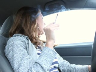 young Brunette Smoking VS 120 in Car