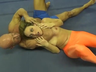 mature Vs young Mixed Wrestling