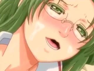 Green-haired anime girl slammed by wide lover