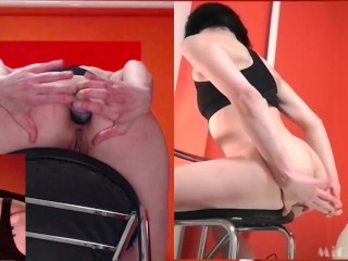 18 ys eat creampie from her own asshole after brutal anal on chair + RIMJOB