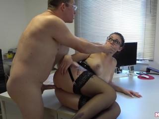 BRUTAL ass fuck for busty secretary - Her Boss DESTROYS her asshole!