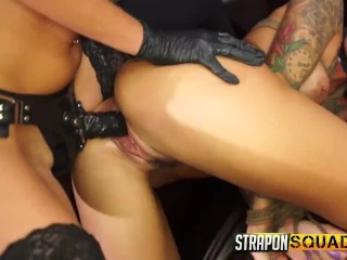 [LEZDOM] Hot tattooed babe bound and fucked by machine and strapon