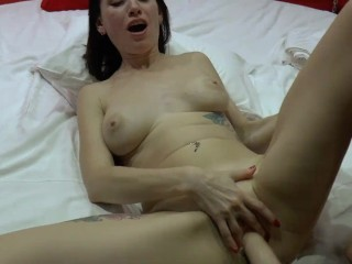 Russian horny brunette play with fuck machine & gets multiple orgasm