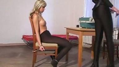 Girl In Bondage Bed, Cuffs