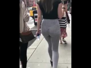 See Thru Grey Leggings Blonde Street Candid