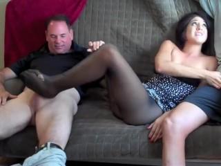 Milf two footjob nylon and naked feet
