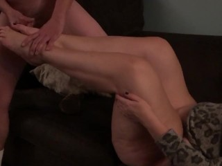 Stranger gets footjob and cums on bbw wifes feet as cuck hubby films